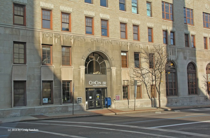 The origin of the CityCenter Building in downtown Akron, Ohio, is carved into the limestone above the entryway.